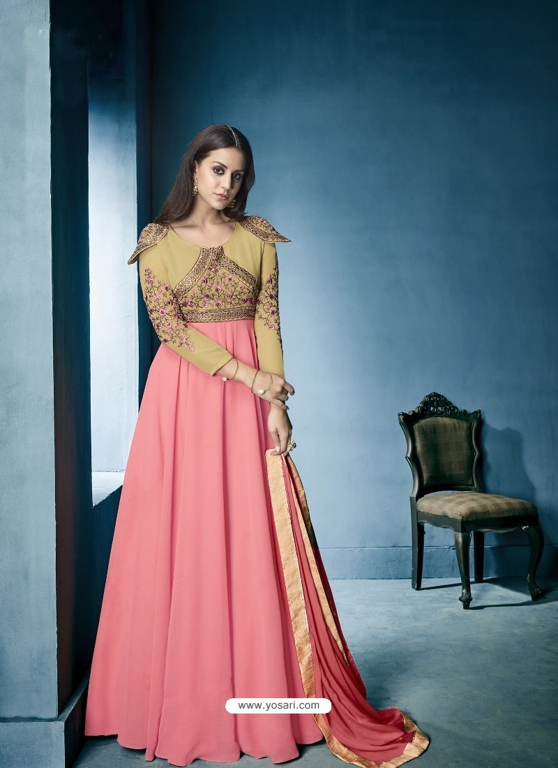 Buy Peach And Beige Georgette Embroidered Designer Floor Length ...