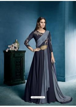 Navy Blue Georgette Embroidered Designer Floor Length Anarkali Suit