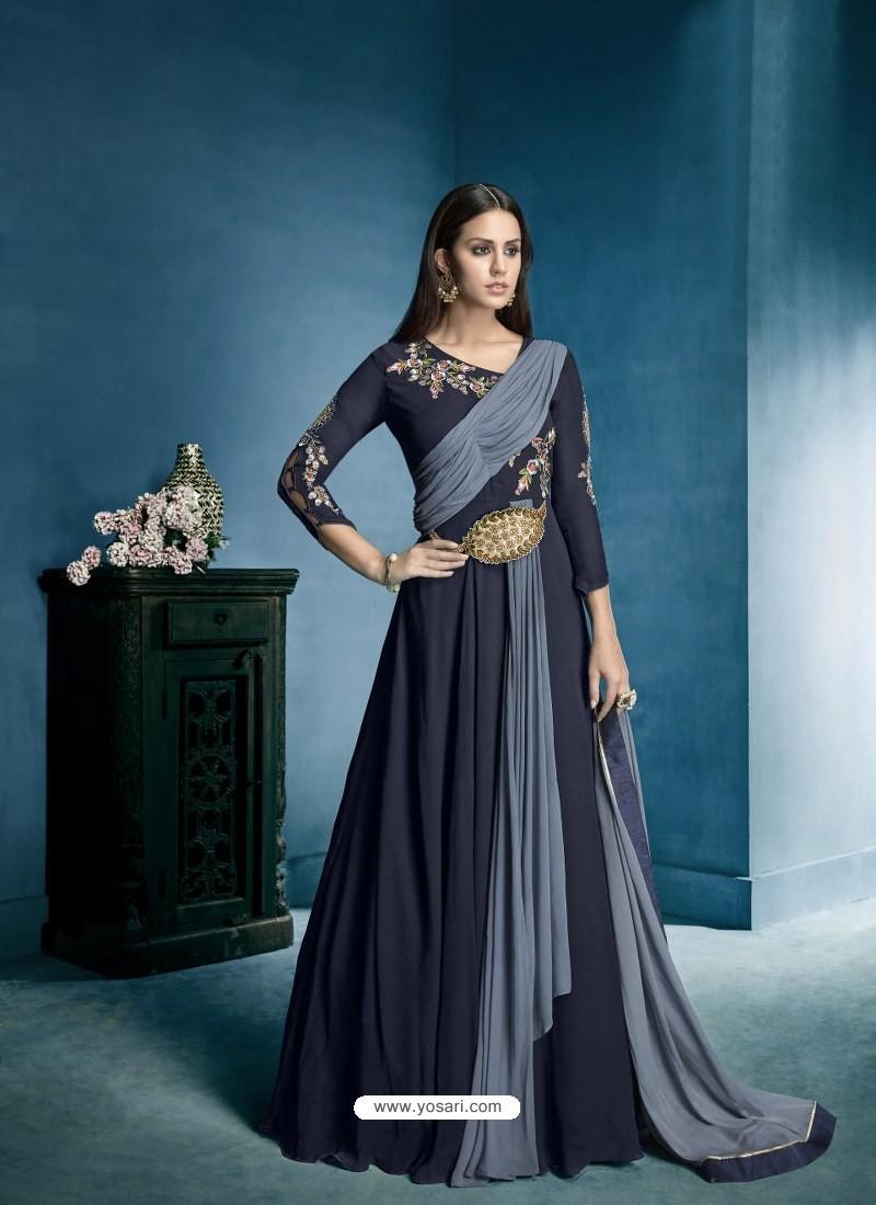 Buy Navy Blue Georgette Embroidered Designer Floor Length Anarkali ...