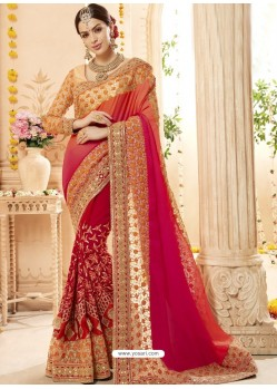 Red And Light orange Faux Georgette Embroidered Designer Wedding Saree