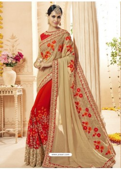 Beige And Red Faux Georgette Embroidered Designer Wedding Saree