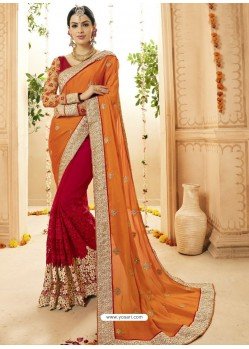 Orange And Red Faux Georgette Embroidered Designer Wedding Saree