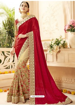 Red And Beige Faux Georgette Embroidered Designer Wedding Saree