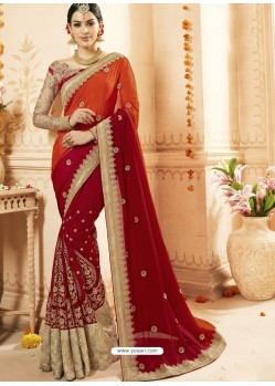 Wine And Orange Faux Georgette Embroidered Designer Wedding Saree