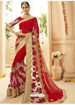 Red Faux Georgette Embroidered Designer Wedding Saree