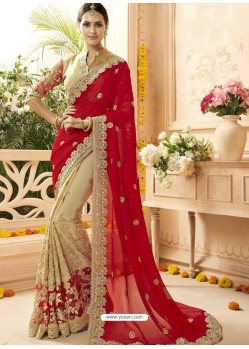 Crimson And Beige Faux Georgette Embroidered Designer Wedding Saree