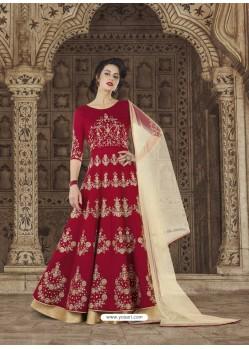 Crimson Embroidered Silk Designer Anarkali Suit