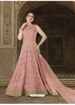 Light Pink Embroidered Sana Silk Designer Anarkali Suit