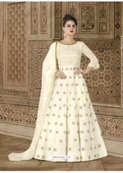 Cream Embroidered Prime Georgette Designer Anarkali Suit