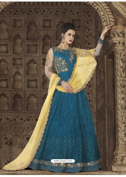 Teal Blue Embroidered Premium Nett Designer Anarkali Suit