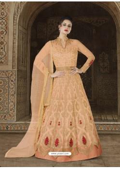 Light Orange Embroidered Premium Nett Designer Anarkali Suit