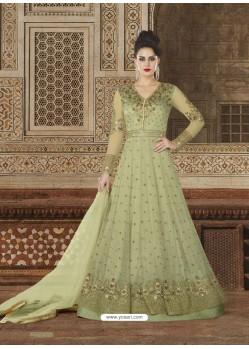 Green Embroidered Premium Nett Designer Anarkali Suit