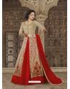 Fantastic Beige And Red Embroidered Premium Nett Designer Anarkali Suit
