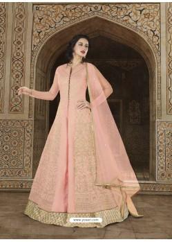 Baby Pink Embroidered Soft Tapeta Silk Designer Anarkali Suit