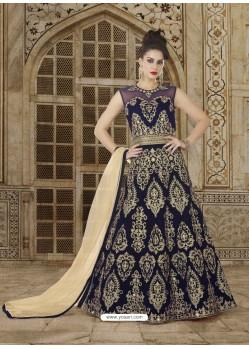 Elegant Navy Blue Embroidered Micro Velvet Designer Anarkali Suit