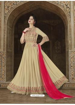 Beige Embroidered Model Slub Satin Designer Anarkali Suit