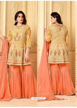 Yellow And Orange Embroidered Rangoli Georgett Designer Sarara Suit