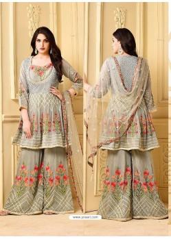 Grey Embroidered Rangoli Georgett Designer Sarara Suit