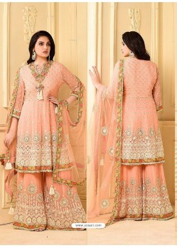 Peach Embroidered Rangoli Georgett Designer Sarara Suit