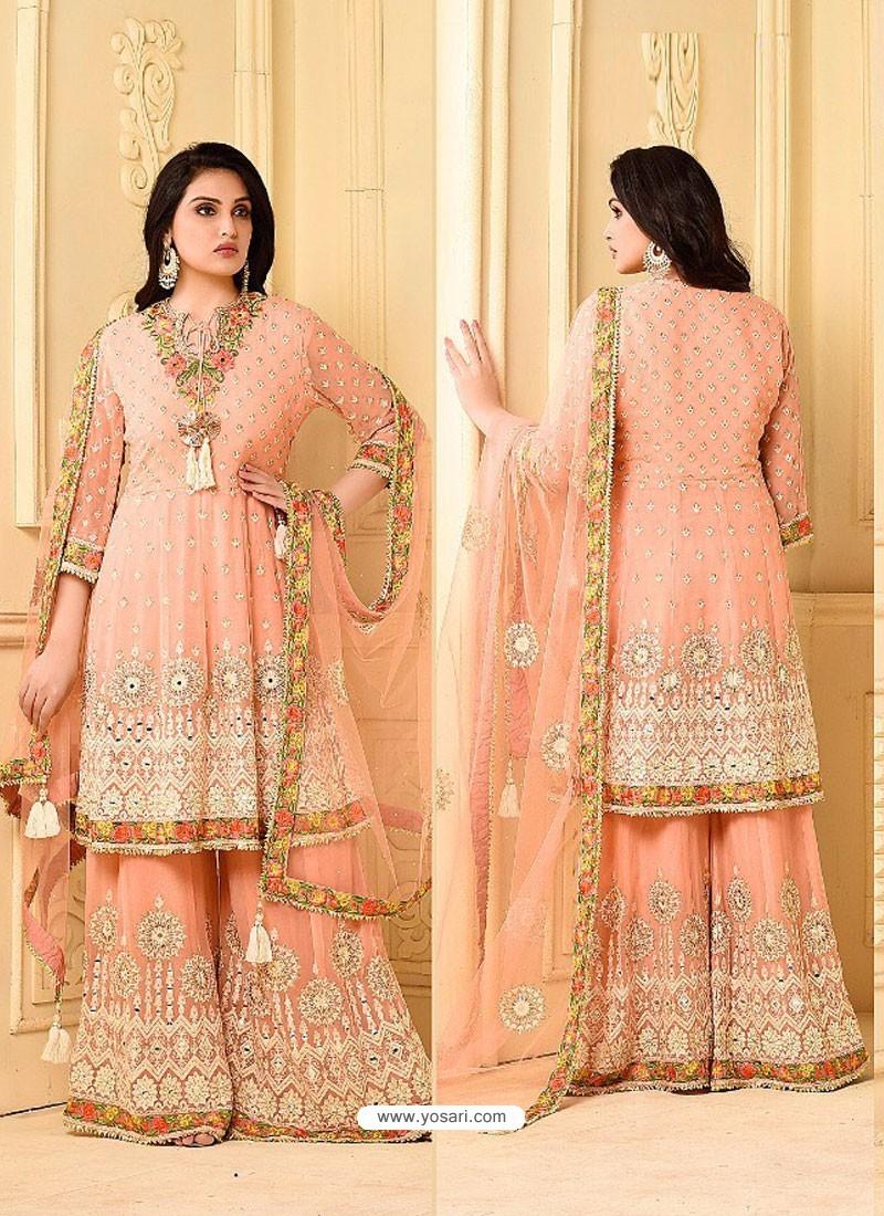 Peach Embroidered Rangoli Georgett Designer Sarara Suit