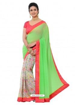 Multicolor Sari with Preety Green Color Pallu