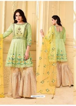 Sea Green Embroidered Rangoli Georgett Designer Sarara Suit