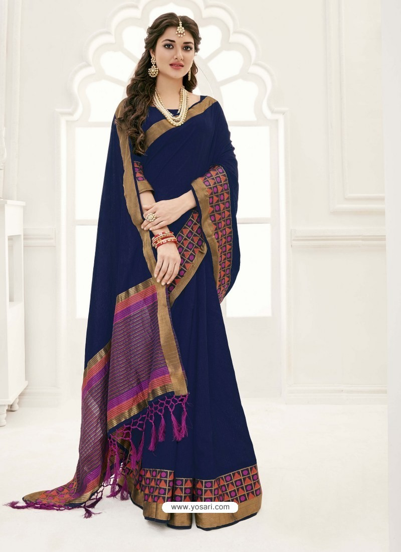 72f15b970c Buy Beautiful Navy Blue Raw Silk Designer Saree | Designer Sarees