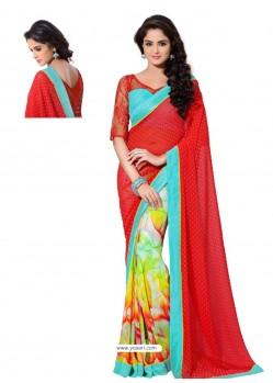 Multicolor Sari with Red Pallu