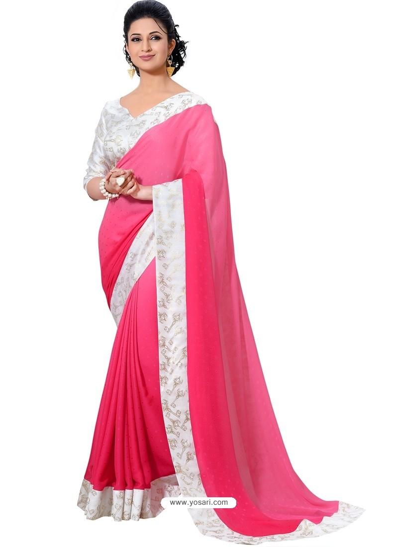 Crape Silk Pink and White Color Sari