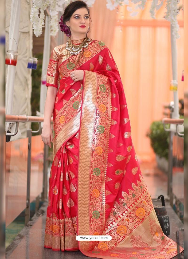 5aec81c4b5d Buy Red Banarasi Silk Designer Saree