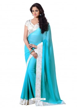 Crape Silk Skyblue and White Color Sari