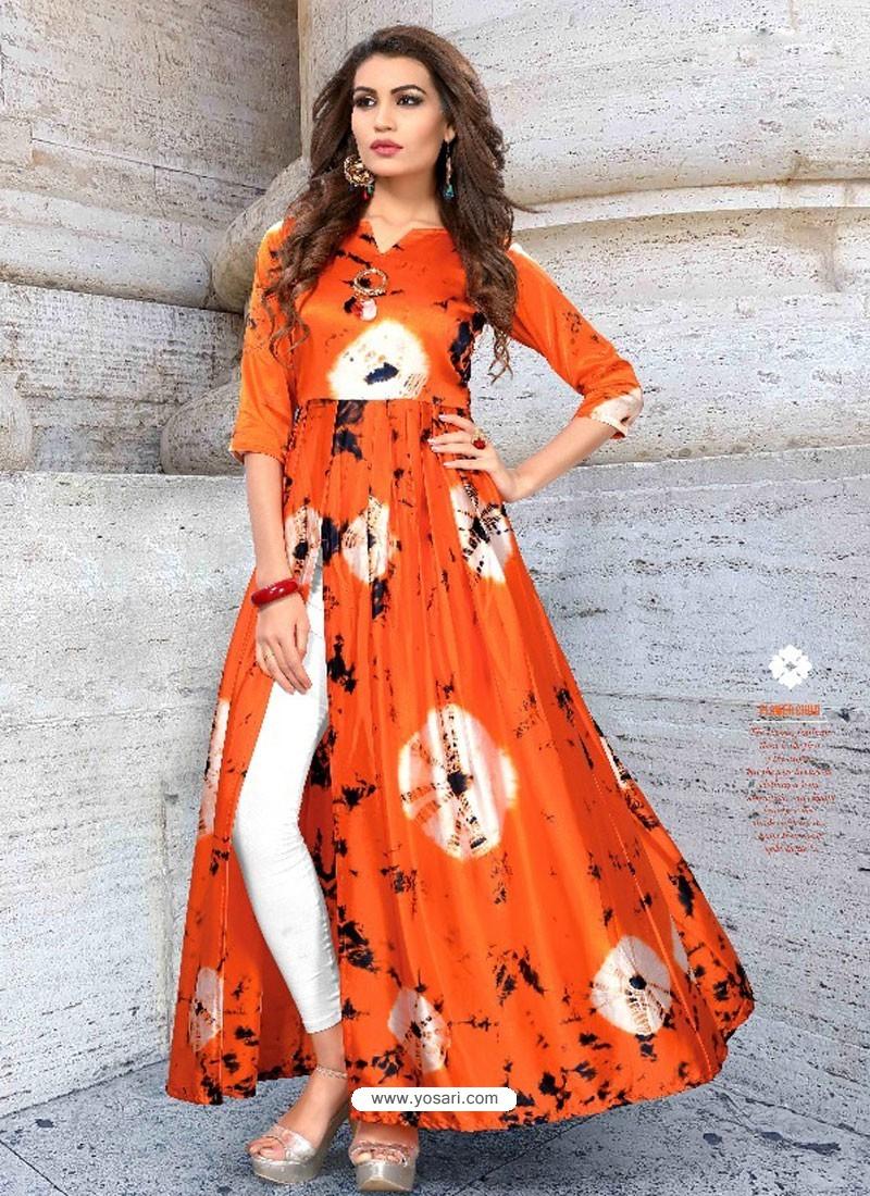 ef790be39 Buy Orange Taiwan Satin Silk Printed Designer Kurtis