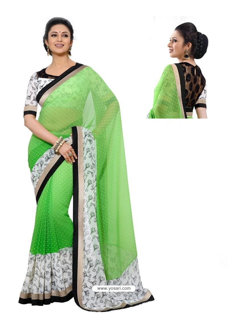 Georgette Green and White Color Sari