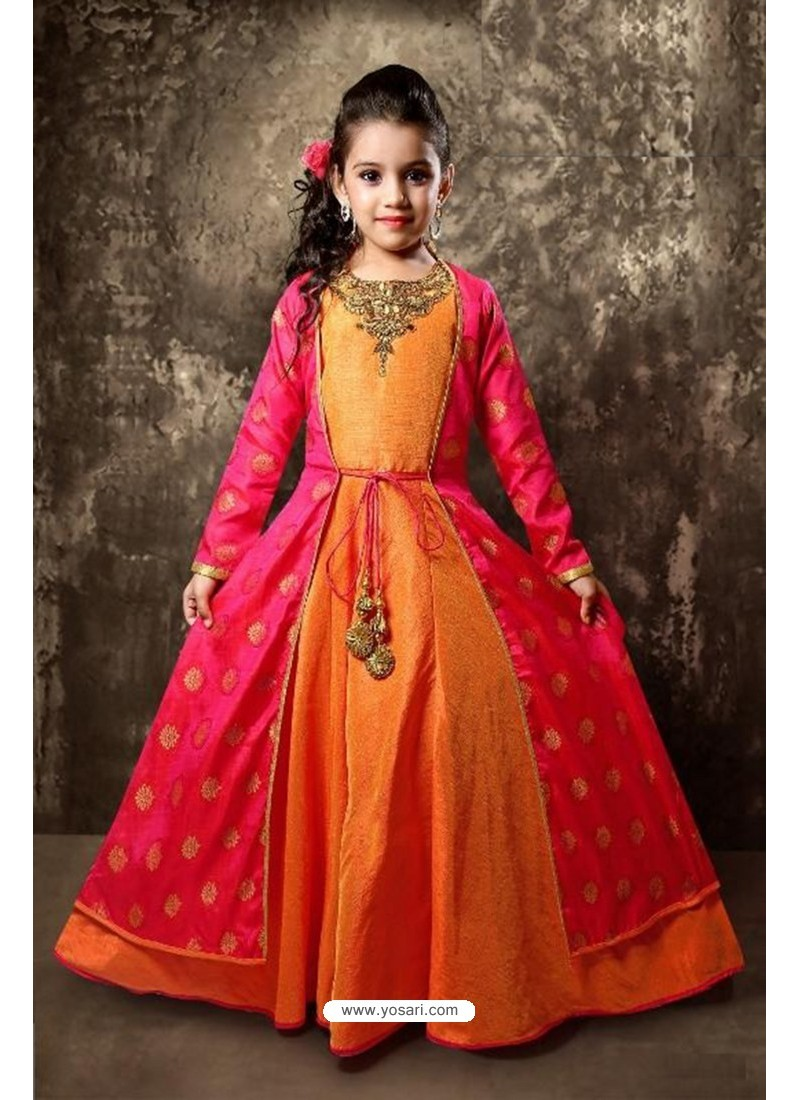 Buy Orange And Fuchsia Silk Designer Gown | Gown For Girls