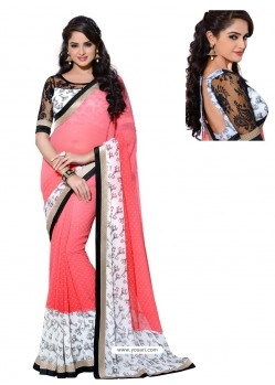 Georgette Pink and White Color Sari