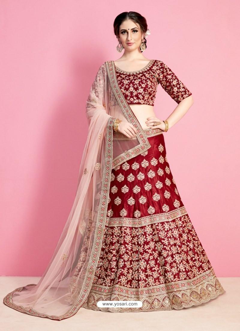 4bd41f7c4199be Buy Delightful Maroon Silk Desinger Wedding Lehenga Choli | Wedding ...