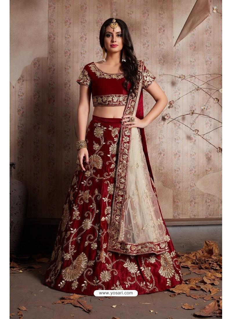 15c5e5400f Buy Fantastic Maroon Velvet Embroidered Designer Lehenga Choli ...