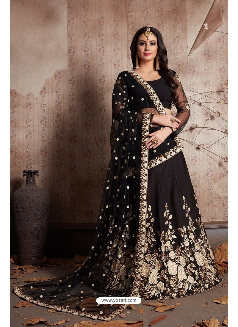 42c063f8ee Buy Black Silk Embroidered Designer Lehenga Choli | Designer Lehenga ...