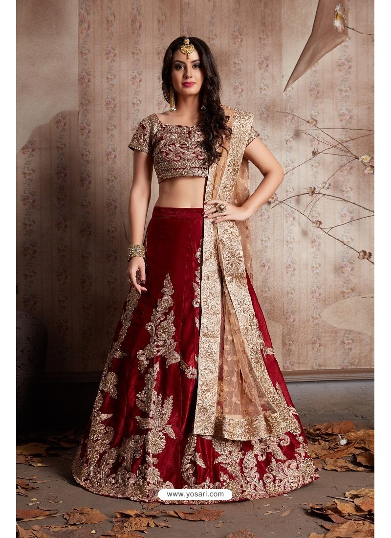041a412409 Buy Beige And Maroon Velvet Embroidered Designer Lehenga Choli ...
