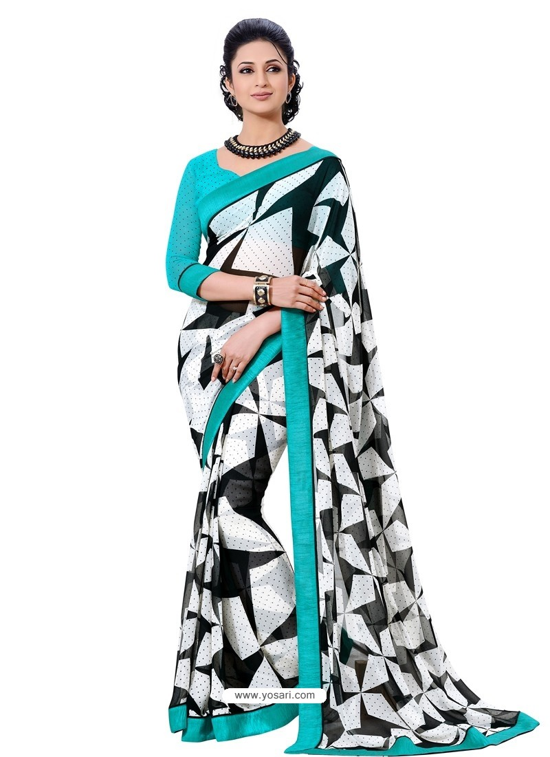 Semi Bemberg Georgette Printed Skyblue,Black & White Sari