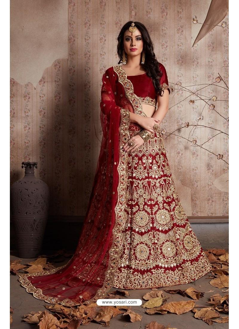 26e4d24754 Buy Exclusive Maroon Velvet Embroidered Designer Lehenga Choli ...