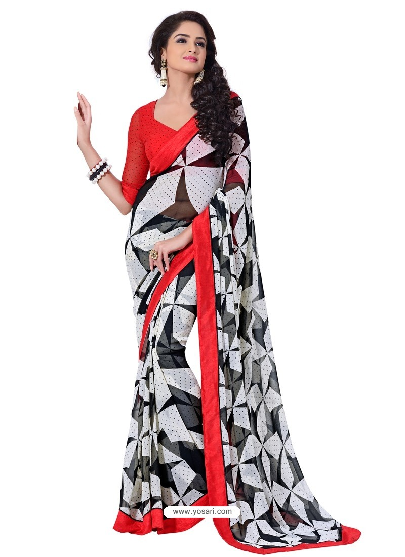 Semi Bemberg Georgette Printed Red,Black & White Sari