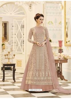 Dusty Pink Embroidered Georgette Designer Floor Length Anarkali Suit