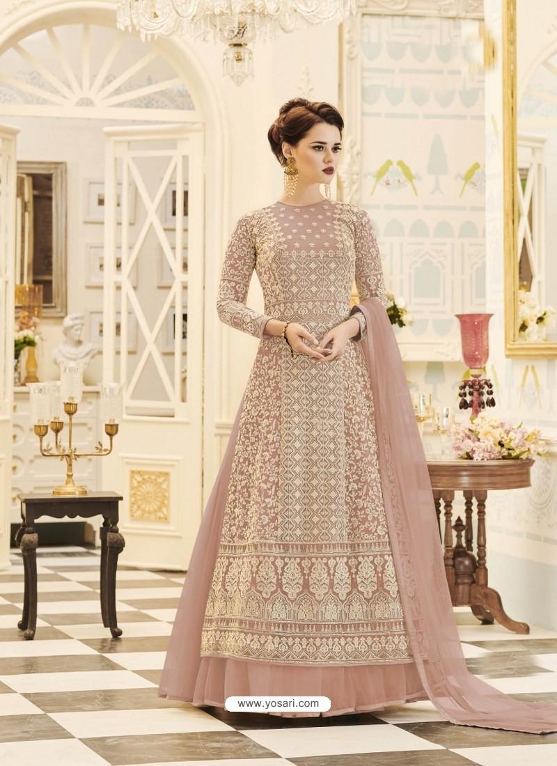 24d92de142 Buy Dusty Pink Embroidered Georgette Designer Floor Length Anarkali ...