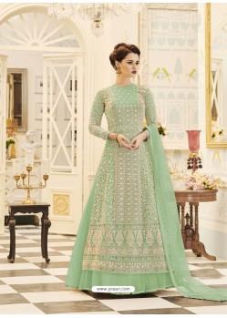 Sea Green Embroidered Georgette Designer Floor Length Anarkali Suit