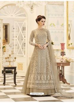 Light Brown Embroidered Georgette Designer Floor Length Anarkali Suit