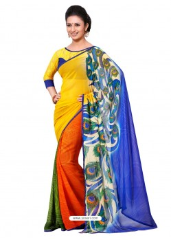 Semi Bemberg Georgette Printed Multicolor Sari