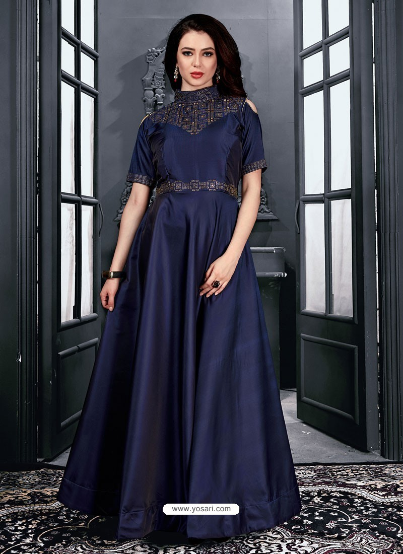 Buy Navy Blue Satin Designer Party Wear Gown | Gowns
