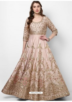 Girlish Baby Pink Silk Designer Party Wear Gown