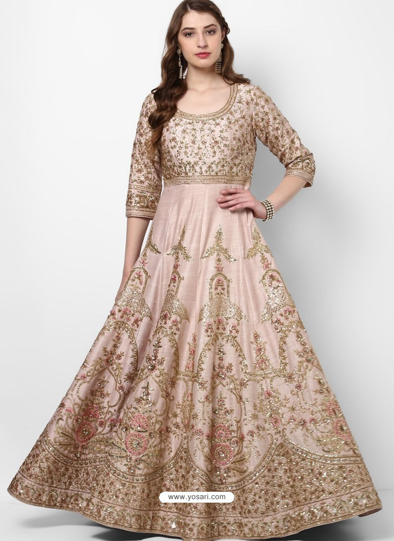 Buy Girlish Baby Pink Silk Designer Party Wear Gown | Gowns